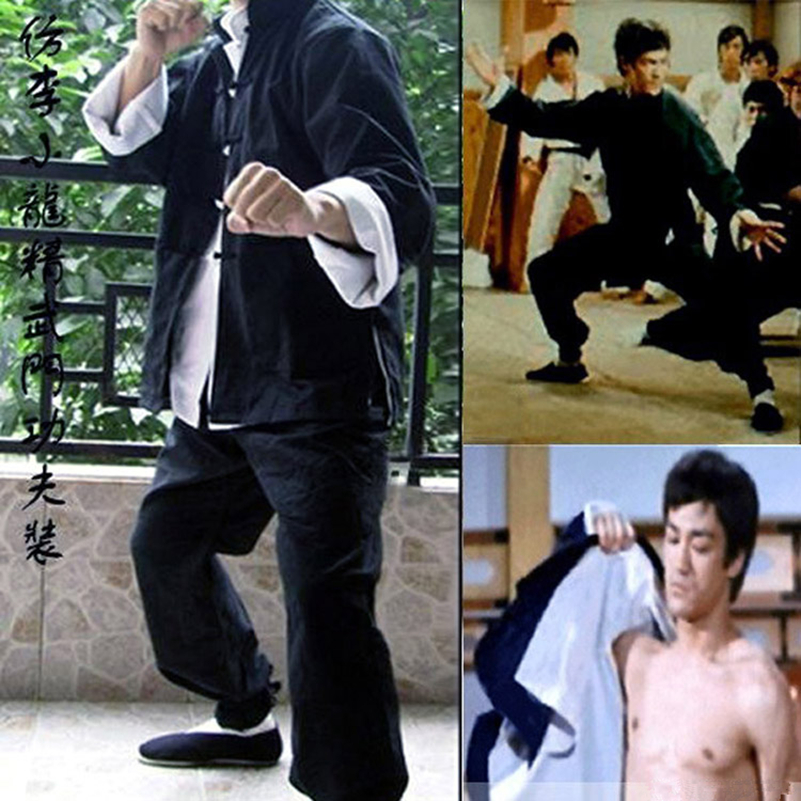 Mens Bruce Lee Classic Tang suits Kung Fu Martial Arts Uniforms Set of 3 Wing Chun Outfit Uniform new pure linen retro men s wing chun kung fu long robe long trench ip man robes windbreaker traditional chinese dust coat