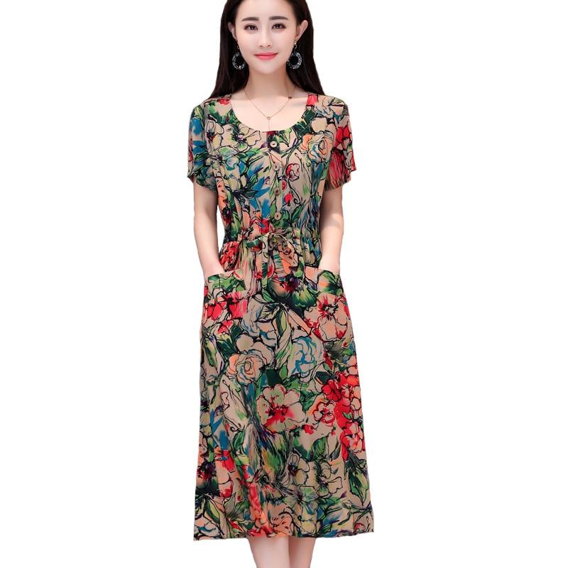2019 Summer women dresses casual O neck print cotton vintage robe femme ete vestidos verano women clothing dress vestidos in Dresses from Women 39 s Clothing