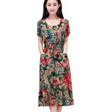 2019 Summer women dresses casual O-neck print cotton vintage robe femme ete vestidos verano  clothing dress