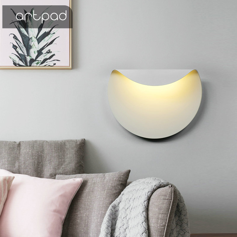 Artpad Scandinavian Style Aluminium Sconce Wall Lights AC110V-220V White Bedroom Living Room Staircase Hallway LED Moon Light