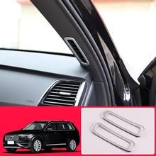 Для VOLVO XC90 ABS Матовый подкладке спереди столб, устанавливаемое на вентиляционное отверстие в салоне автомобиля розетка накладка 2 шт. стайлинга автомобилей
