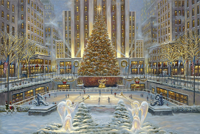 free shipping pastoral snow square Christmas light landscape canvas prints oil painting printed on canvas art decoration picture