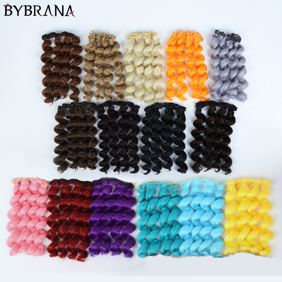 Bybrana Black Gold Brown Silver Color Short Curly Hair 15cm*100CM BJD Wigs For 1/3 1/4 1/6 Dolls DIY