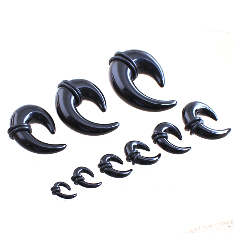 2pcs Fashion Acrylic black Shaped horns tragus ear plugs tunnels Expanding ear amplifier 2-14mm body piercing tunnels jewelry image
