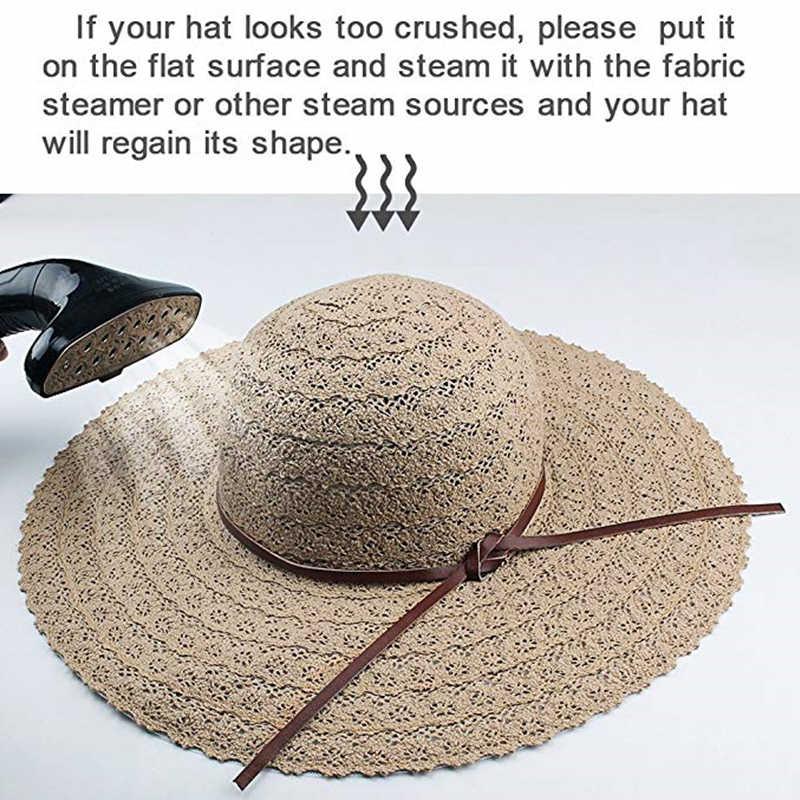 53bf594a ... FURTALK Summer Hats for Women Fashion Design Women Beach Sun Hat  Foldable Brimmed Straw Hat ...