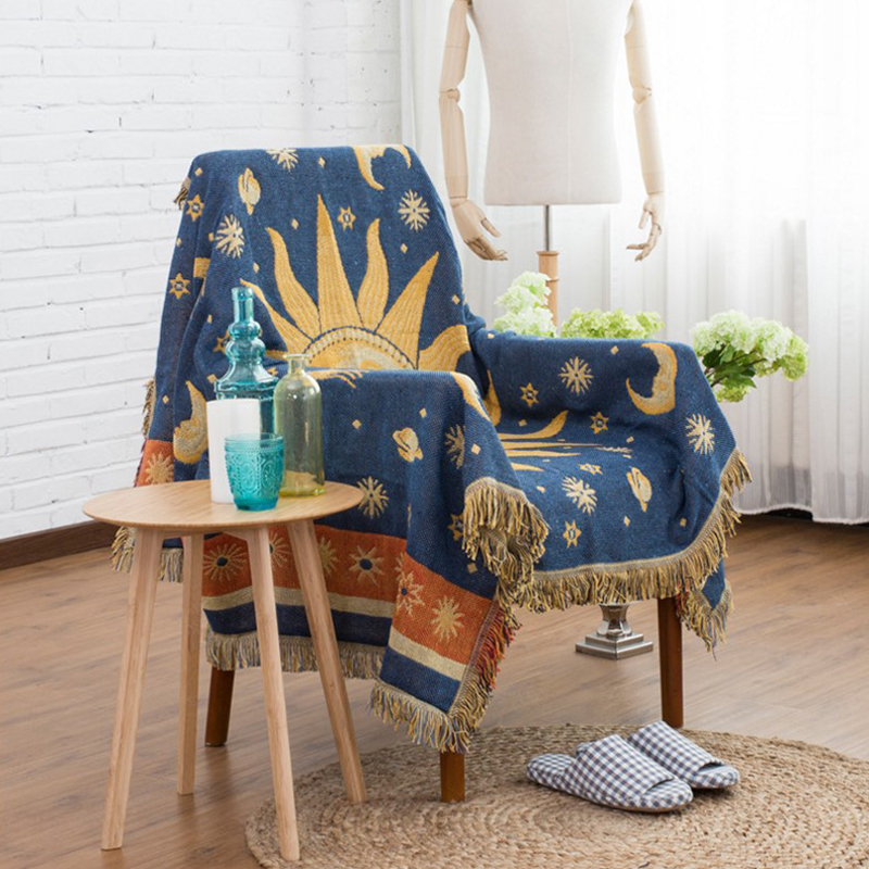 Bohemia Knitted Blankets Sofa Anti-slip Cover Slipcover Sofa Towel Cotton Sun Moon Fabric Home Decorative Cotton Throw/tapestryBohemia Knitted Blankets Sofa Anti-slip Cover Slipcover Sofa Towel Cotton Sun Moon Fabric Home Decorative Cotton Throw/tapestry
