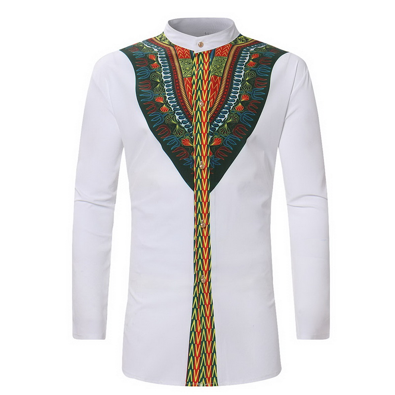 Zantt Mens Stand Collar Slim Fit Short Sleeve African Print Dashiki Shirts