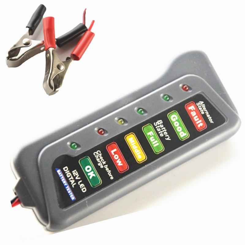 12 V Car Digital Battery Checker Tester Alternator 6 LED Lights Display for Cars Vehicle Motorcycle Batteries12 V Car Digital Battery Checker Tester Alternator 6 LED Lights Display for Cars Vehicle Motorcycle Batteries