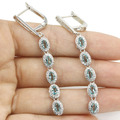 Long Sky Blue Topaz, White CZ SheCrown Created Woman's  Silver Earrings 62x6mm