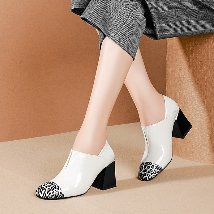 MLJUESE 2019 women pumps Cow leather leopard Rome style autumn spring slip on square toe high
