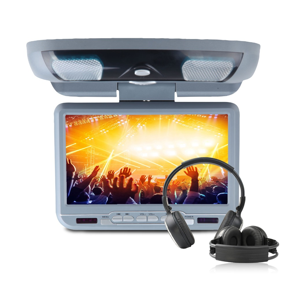 Eonon 9″ Car Roof Mount DVD Player Auto Displayer 32 Bit Game Flip Down Monitor Auto Ceiling Video With 2pcs Headphones For Free