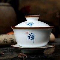 Ręcznie malowane ceremonia herbaty herbata akcesoria ceramiczne Gaiwan cichy Zen Kung Fu Gaiwan niebiesko biała porcelana waza miska 150cc w Zest. naczyń do herbaty od Dom i ogród na
