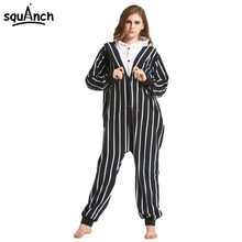 Jack Skellington Kigurumi Onesie Winter Funny Pajama Women Men Adult Black  stripe Skeleton Costume Cartoon Sleepwear Party Suit 54818350e