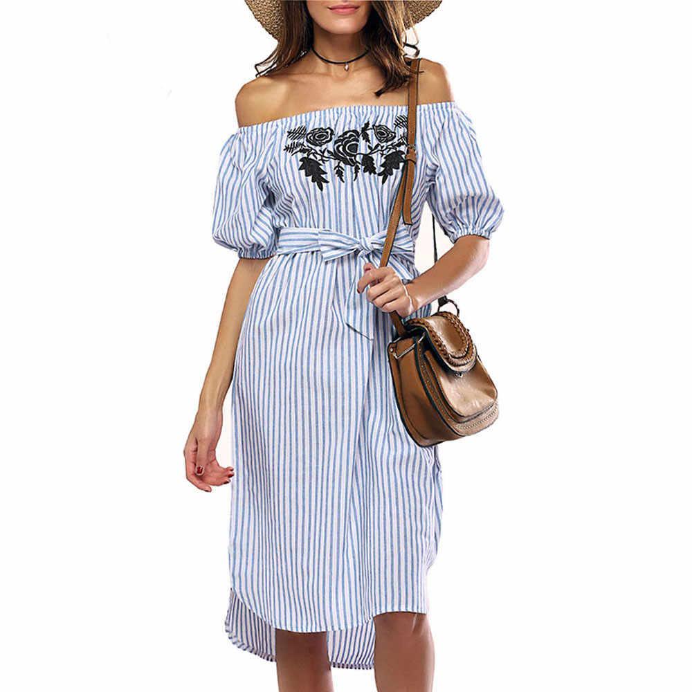 b532ce4f0425b77 Новые летние платья Для женщин Slash шеи короткий рукав с открытыми плечами  платье в полоску повседневные