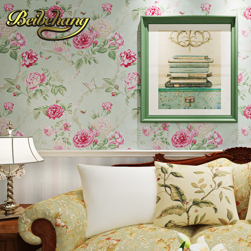 beibehang wall paper. papel de parede 3d Pune wallpaper American pastoral style flower green warm pure paper wallpaper bedroom beibehang pastoral wall paper bedroom