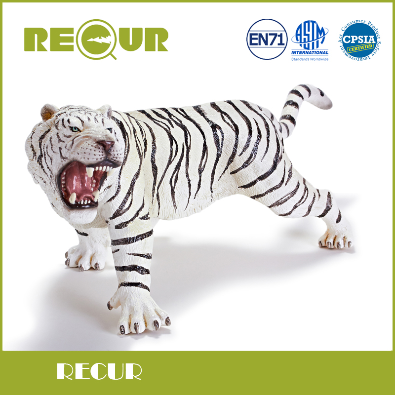 Recur Toys High Quality white Bengal Tiger Simulation Model Hand Painted Soft PVC Figures Wild Animal Toy Collection Gift pvc figure wild animals toy leopard model panther tiger toys children birthday gift toys holiday gift ornaments 4pcs set