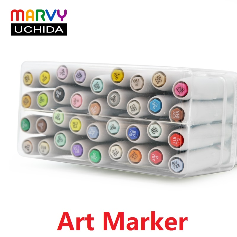 MARVY 12/24/36 Colors Marker Pen Cartoons oil-based marker PensCartoon Soft head Mark Pen Set No.3000 rotuladores colores touchnew 60 colors artist dual head sketch markers for manga marker school drawing marker pen design supplies 5type