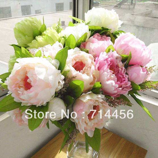 Free shipping 10sets/lot Bridal Bouquet,wedding party table centerpiece,Christmas home decoration silk artificial flower