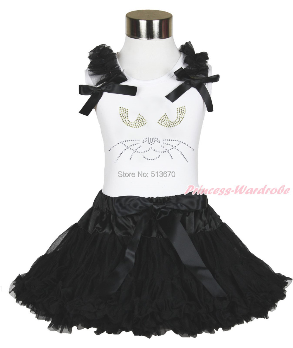 Halloween Maleficent Print Ruffle Bow White Top Black Pettiskirt Outfit Set 1-8Y MAMG1181 baby golden brown pettiskirt golden ruffle brown bow white top shirt set 3 12m mapsa0289