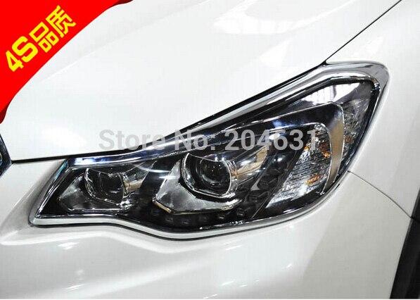 High Quality ABS Chrome Front Headlight Lamp Cover 2 PCS/Set for Subaru XV 2012 2013 2014 fast air ship for renault kadjar 2016 abs chrome front headlight lamp cover trim headlamp covers 2pcs set