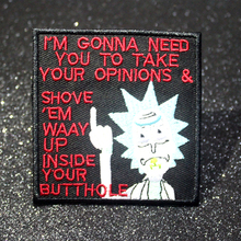 Pulaqi Rick and Morty Patch Iron On Patches For Clothes DIY Embroidery Clothing Cartoon Stripes F