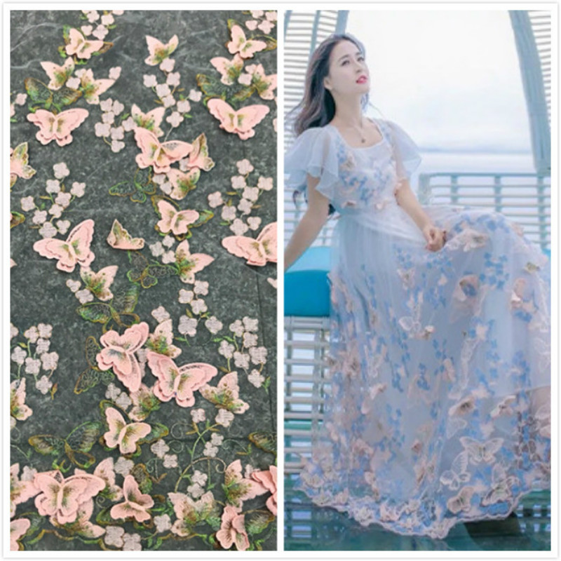 1yard 3D Embroidery Butterfly Mesh Fabric Women's Dress Clothing Accessories Mesh Embroidered Lace Fabric