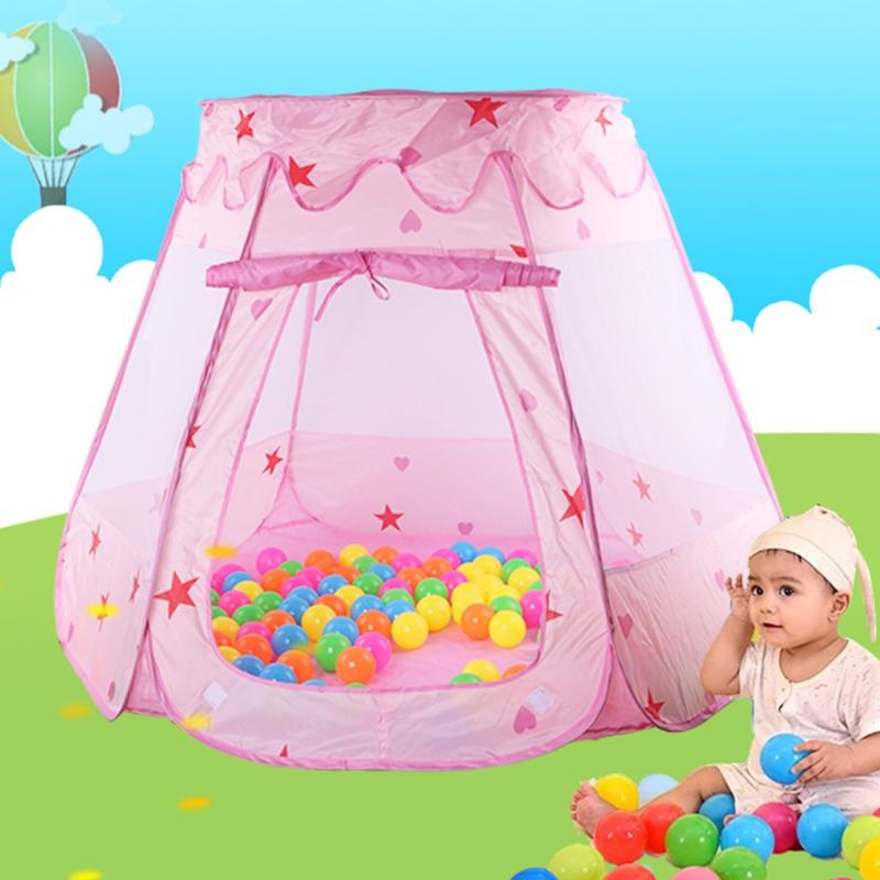Portable Foldable Princess Castle Play House Indoor Outdoor Children Kids Play Tent Ocean Ball Pool + Balls Kids Gift