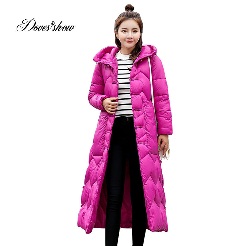 Elastic Hooded Winter Down Coat Jacket Long Warm Women Casaco Feminino Abrigos Mujer Invierno 2018 Parkas Outwear Cotton-Padded