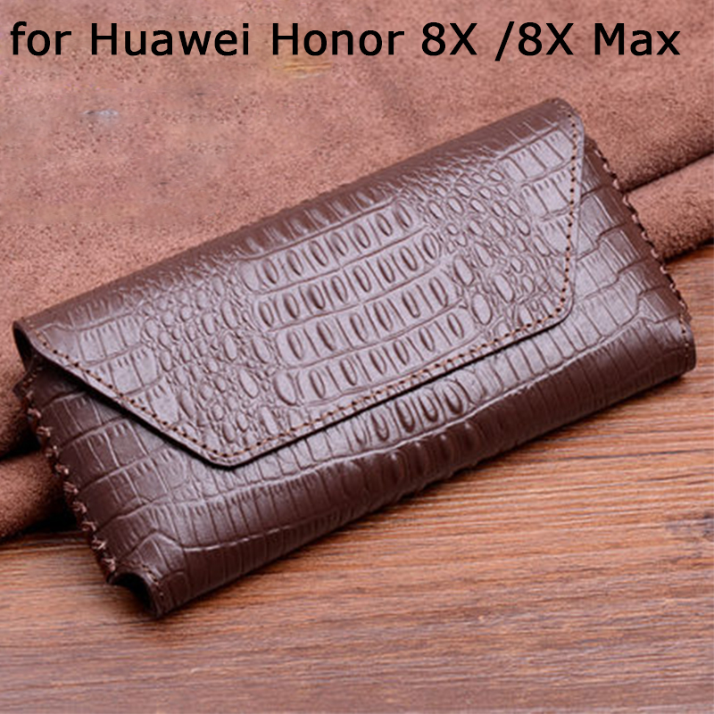 Sleeve Pouch for Huawei Honor 8X Case Crocodile Print Genuine Leather Phone Cases Honor 8X Max Tempered Glass Screen Protector