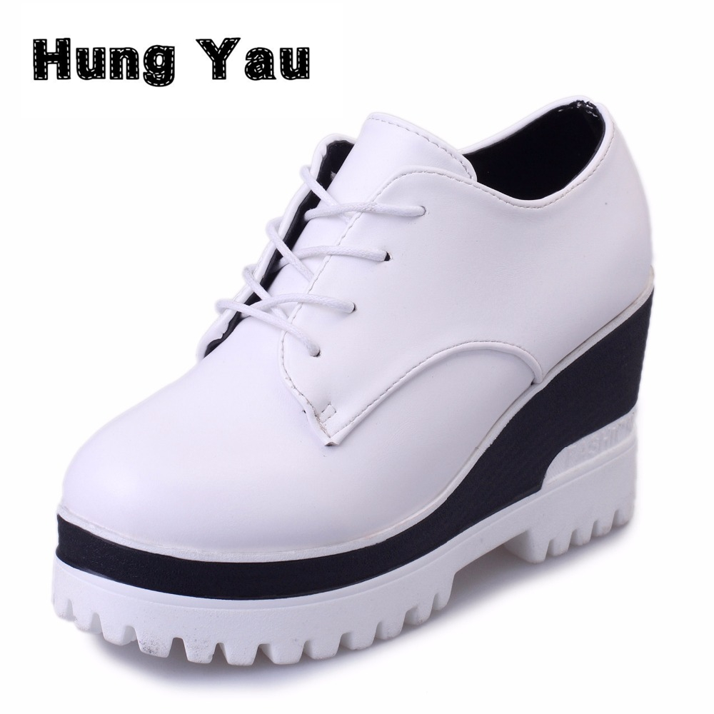 Women Shoes Wedges High Heels Thick Soled Ladies Height Increasing Lace-Up Casual Single Autumn Platform Shoes Chaussure Femme women harajuku cartoon lace up wedges platform shoes 2015 casual shoes trifle thick soled graffiti flat shoes ladies creepers
