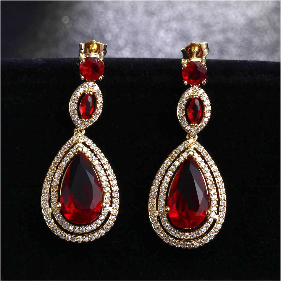 New Classic Drop shape Dangle 2018 New Earrings Colour stones Purple RED with Big CZ Gold-color Earrings for party CZ Earrings цены онлайн