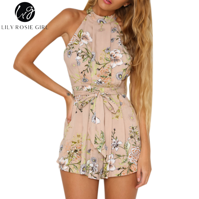 Lily Rosie Girl Off Shoulder Boho Floral Sleeveless Sexy Jumpsuit Women Sashes Summer Beach Party Playsuit Short Romper Overalls