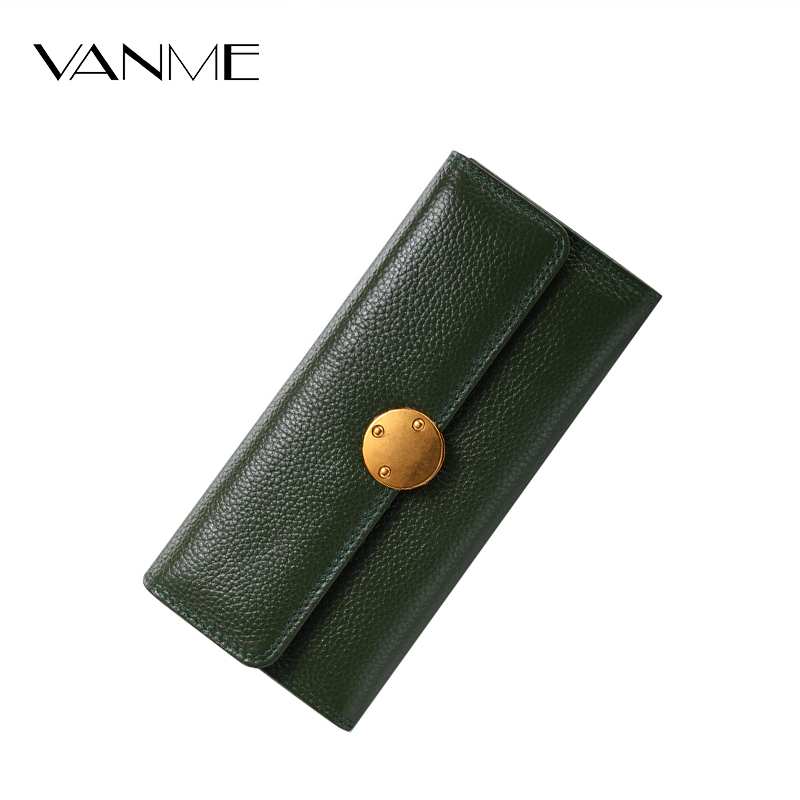 High Quality Brand Designer Wallet Vintage Litchistria Bag Green Wallet Hasp Long Purse Genuine Leather Coin Purse Ladies Wallet 2016 new brand short women s wallet high quality guarantee designer s high heeled shoes hasp purse for lady free shipping