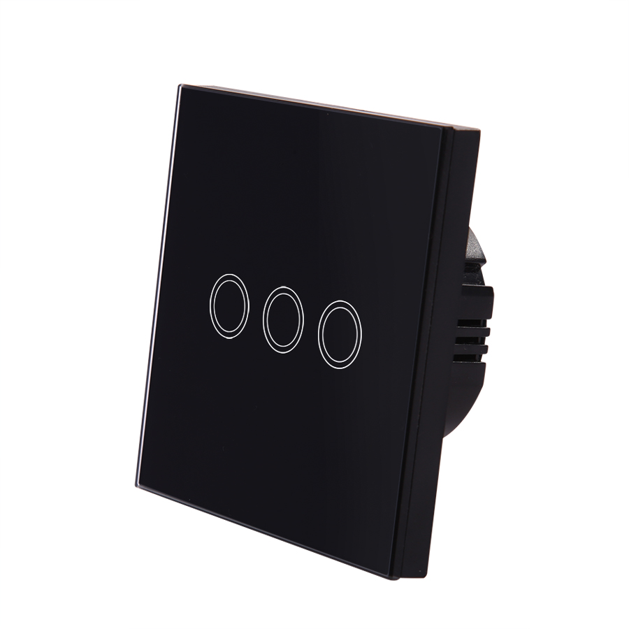 Vhome EU/UK Standrad wireless black 3gang 1way Crystal Glass Penal Touch Wall Light switch 220V5A 433mhz Remote control function black color 2gang touch light switch with wireless remote control rf 433mhz glass panel smart wall touch switch uk type