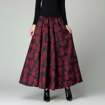 Aliexpress.com : Buy New Fashion Autumn Winter Print Long Skirt ...