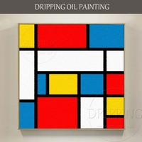 Artist Hand Painted Colorful Geometry Oil Painting On Canvas Hand Painted Piet Cornelies Mondrian Oil Painting