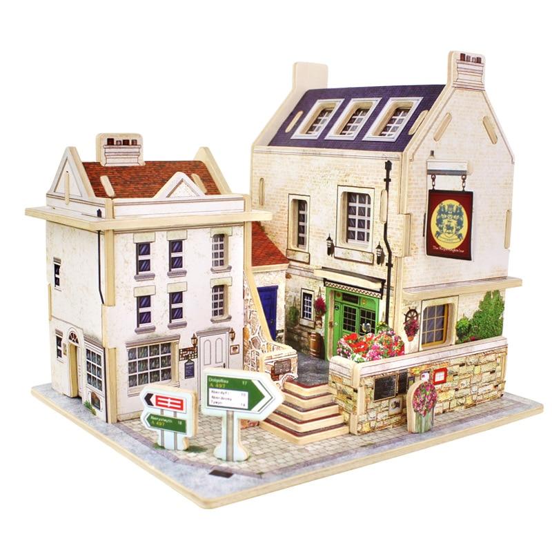 Дети DIY древесины Сборка игрушки деревянные модели 3D головоломки Развивающие игрушки для детей замок модель головоломки Ретро строительст...