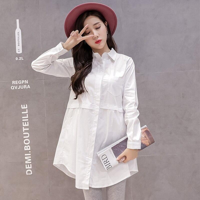 9e63306e15be6 جديد الأزياء الأمومة بلوزة OL نمط طويل كم الحمل قميص عارضة الأبيض الأزرق  الحوامل المرأة طويلة