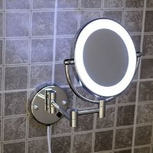 2014 High Quality Brass Chrome Bathroom LED Cosmetic Mirror In Wall Mounted Mirrors Bathroom Accessories