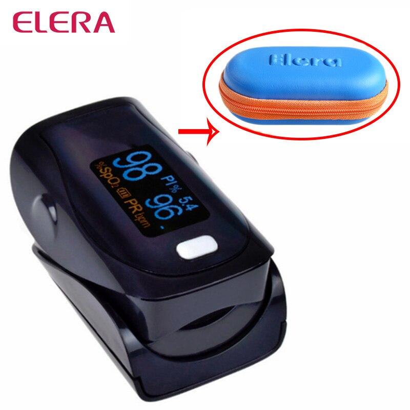 ELERA Newest Design!! Digital Finger Pulse Oximeter WITH CASE Oximetro de Pulso digital SPO2 PR PI Pulsioximetro a Finger