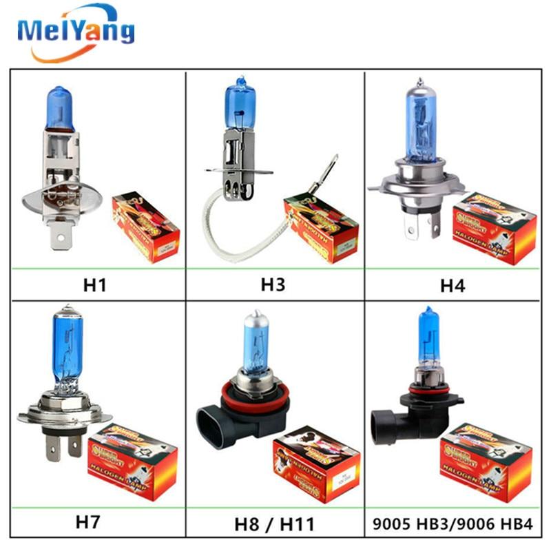 Super White Halogen Bulb H1 H3 H4 H7 H8 H11 9005 HB3 9006 HB4 880 881 12V 24V 27W / 35W / 55W 70W 100W 5000K  Car Headlight Lamp 9005 blue film super bright car halogen bulb for headlight with high quality drop shipping