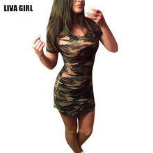 Summer Dress 2018 Women Sexy Bodycon Mini Dresses Female Army Green Camouflage Print Dress Party Club Vestido(China)