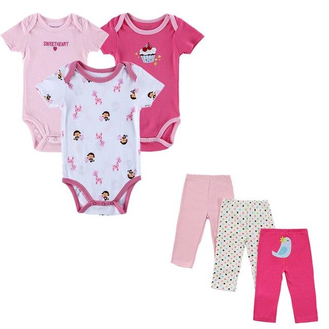 Новые летние 6шт Детские наборы Новые моды в 2016 году марка Baby Girl Одежда для младенцев Мальчики с коротким рукавом Одежда наборы