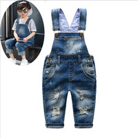 Spring Autumn Children Clothing Boy Girl Fashion Holes Solid Color Cowboy Bib Overall Baby Casual Bib