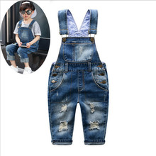 Spring Autumn Children clothing Boy girl fashion Holes solid color cowboy Bib overall Baby Casual bib pants Kids Trousers Romper