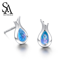 SA SILVERAGE S925 Sterling Female Mermaid Earrings Female Korea Simple Stud Earring Elegant Silver 925 Woman Joyas De Plata 925 wmdoll top quality silicone sex doll head for real human dolls real doll adult oral sex toy for men