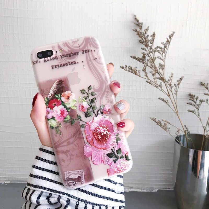 3D Цветочный чехол для iPhone X XS MAX XR 7 8 Plus, силиконовый роскошный чехол для iPhone se 5S 5 6s 6