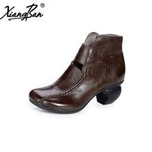 цена 2017 Xiangban genuine leather women ankle boots handmade vintage high-heeled elegant female boots square toe онлайн в 2017 году