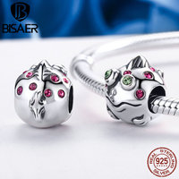Authentic 925 Sterling Silver Colorful Clearly CZ Cute Small Fish Beads Charms Fit Pan Bracelet Original