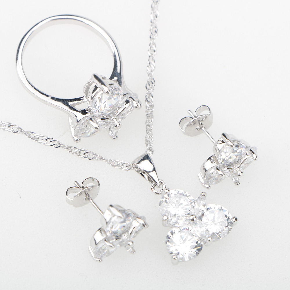 Silver 925 Jewelry Sets White Cubic Zirconia Stones For Women Earrings Rings Pendant Necklace Wedding Jewelery Free Gift Box